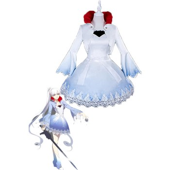 Weiss Schnee Lovely White and Blue Anime Cosplay Costumes