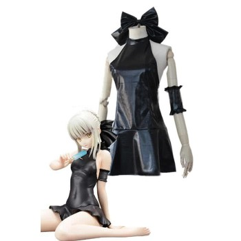 Fate/stay night Hollow Saber Black Dress Anime Cosplay Costumes