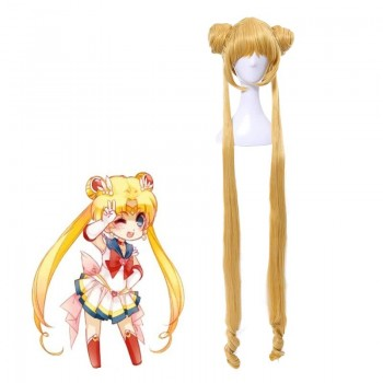 Sailor Moon Serena Tsukino 5 Version Sailor Long Golden Cosplay Wigs