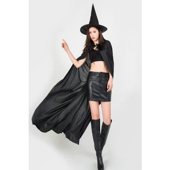 130CM Cool Black Cloak Witch Halloween Cosplay