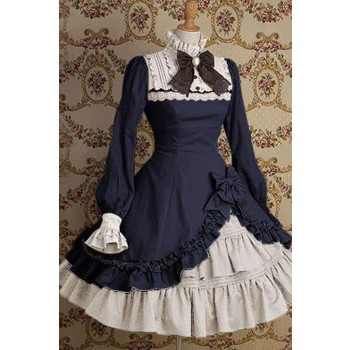 Gothic Retro Pretty Lolita long sleeves dress beautiful Lace design