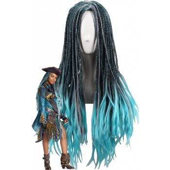 Descendants 2 Uma Cosplay 70cm Blue Black Mixed Color Movie Wigs