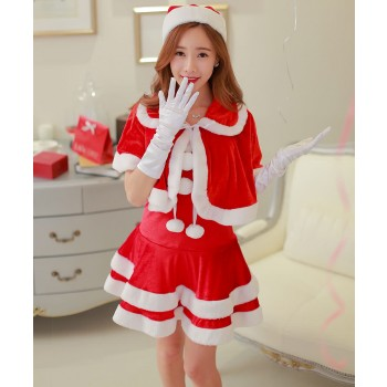 Latest shawl Christmas dress party dress Christmas costume splited detachable skirt