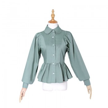 Women Lolita Shirts Elegant Style Long Puff Sleeves Blouses Costumes
