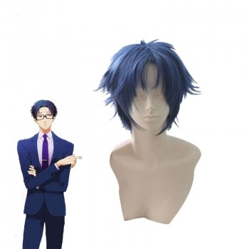 WotaKoi Love is Hard for Otaku Hirotaka Nifuji 45cm Blue Short Men Synthetic Cosplay Wig