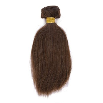 Human Hair Pieces 10inch Straight Brown Weft Remy Human Hair Extension YHWFST100-10-4