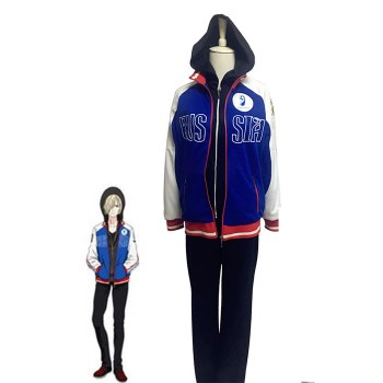 Yuri on Ice Yuri Plisetsky Cosplay Costumes Blue Sportswear Suits