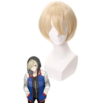 Yuri On Ice Yuri Plisetsky Blonde Short Synthetic Cosplay Wigs