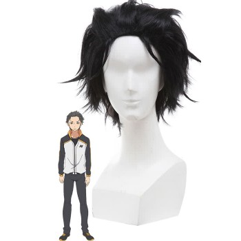 Re:ZERO -Starting Life in Another World Subaru Natsuki Cosplay Wigs Men Short Black Synthetic Hair
