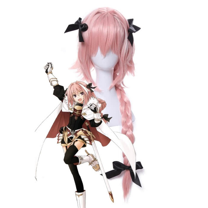 Rolecos Astolfo Cosplay Wig Mens Long Braided Synthetic Hair Wigs Pink Dress Up Pretend Play Wigs