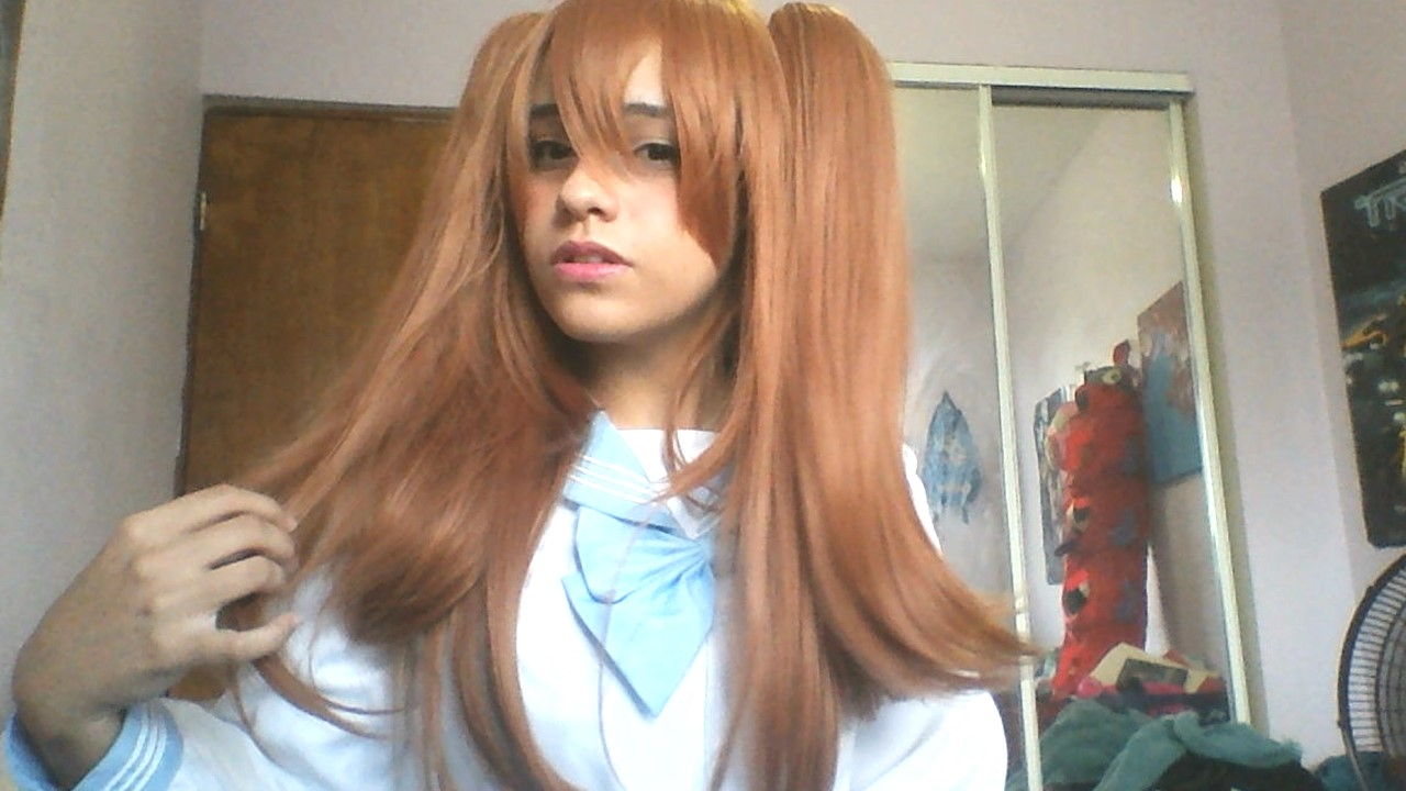 60cm long Lady Chestnut brown wavy Mari Maya Cosplay wig with clip on ponytail