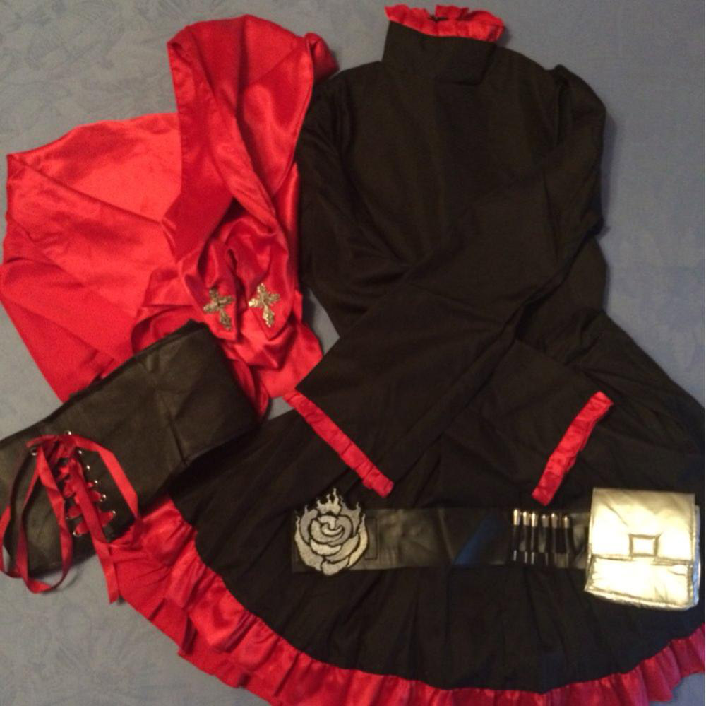 RWBY Ruby Rose Red and Black Anime Cosplay Costumes