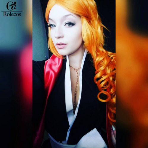65cm long Orange wavy Anime cosplay wig
